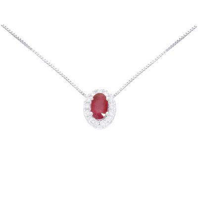 Girocollo con Diamanti e Rubino ct 0.32