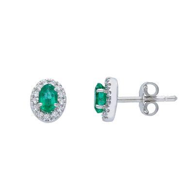 Orecchini con Diamanti e Smeraldi ct 0.46