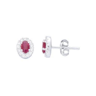 Orecchini con Diamanti e Rubini ct 0.61