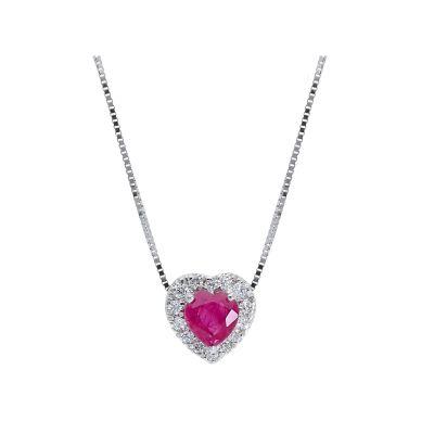 Girocollo con Diamante e Rubino a Cuore ct 0.36