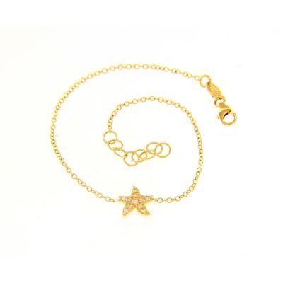 Bracciale Stella Marina Oro Giallo 18kt e Zirconi