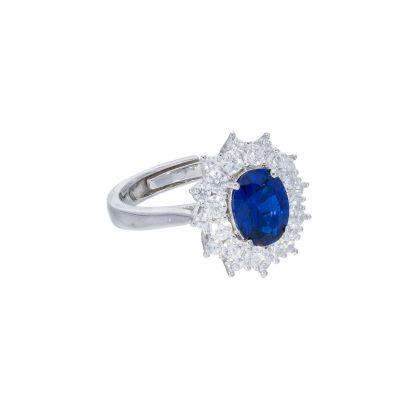 Maiocchi Silver Anello Argento e Zircone Blu