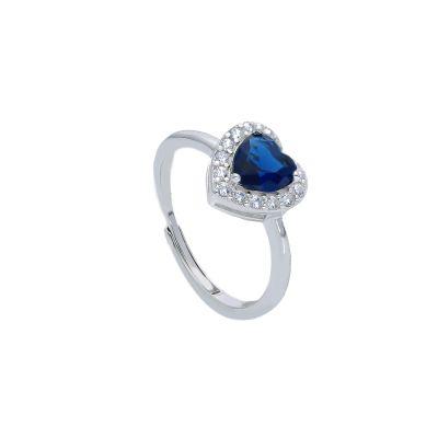 Maiocchi Silver Anello Argento e Zircone a Cuore Blu
