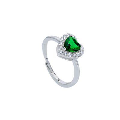 Maiocchi Silver Anello Argento e Zircone a Cuore Verde