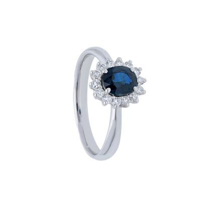 Anello con Diamanti e Zaffiro ct 0.80