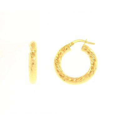 Orecchini a Cerchio Lavorati Oro Giallo 18kt cm 1,5
