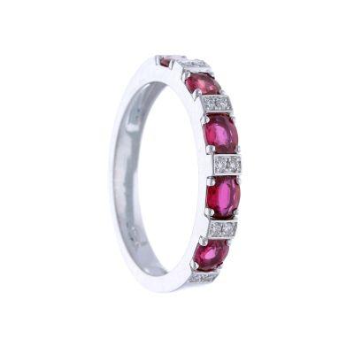 Anello Fedina con Diamanti e Rubini ct 1.04