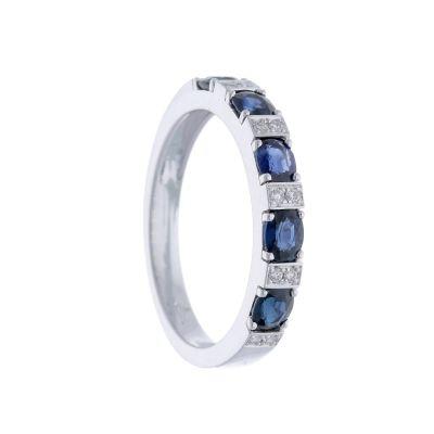 Anello Fedina con Diamanti e Zaffiri ct 1.12