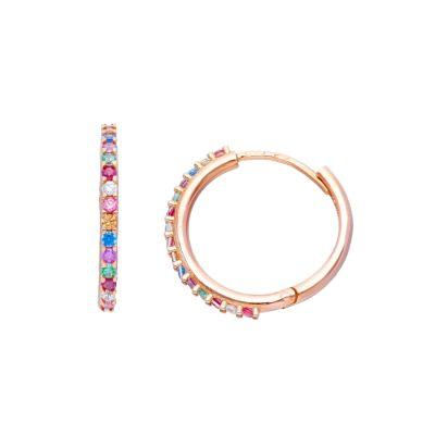 Maiocchi Milano Orecchini Cerchi Oro Rosa 18kt e Zirconi Rainbow
