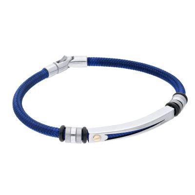 Bracciale Blu Con Piastra Acciaio e Vite Oro Giallo18kt