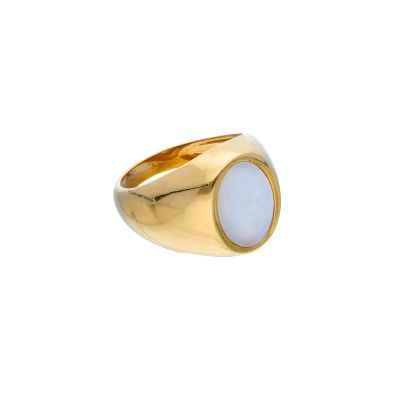 Anello Chevalier in Oro Giallo 18kt e Madreperla