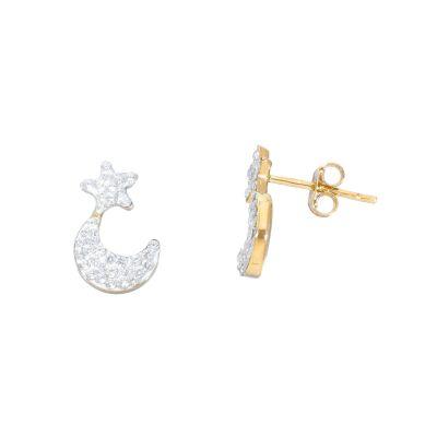 Orecchini Oro  Giallo 18kt Stella e Luna con Zirconi