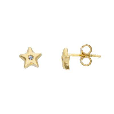 Orecchini Oro Giallo 18kt Stelle con diamanti ct 0,02 G