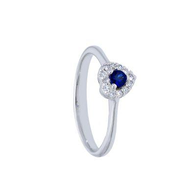 Anello con Diamanti e Zaffiro a Cuore ct 0.16