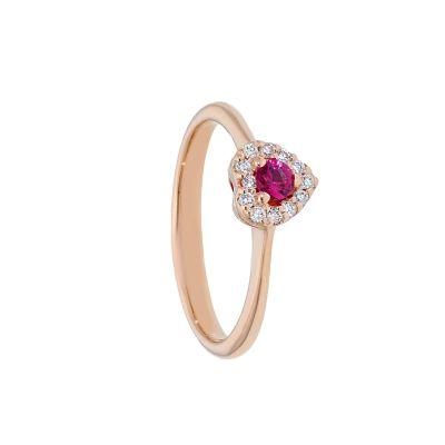 Anello con Diamanti e Rubino a Cuore ct 0.14
