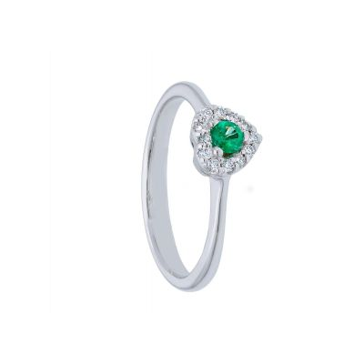 Anello con Diamanti e Smeraldo a Cuore ct 0.10