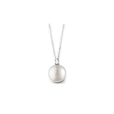 Girocollo in oro bianco perla e diamante