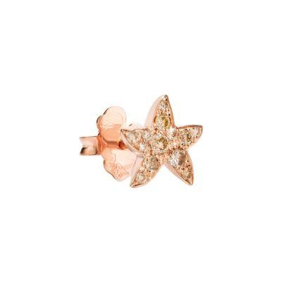 Dodo Orecchino Stellina Oro Rosa 9kt Diamanti Brown