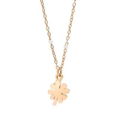 Dodo Collana Mini Quadrifoglio Oro Rosa 9kt