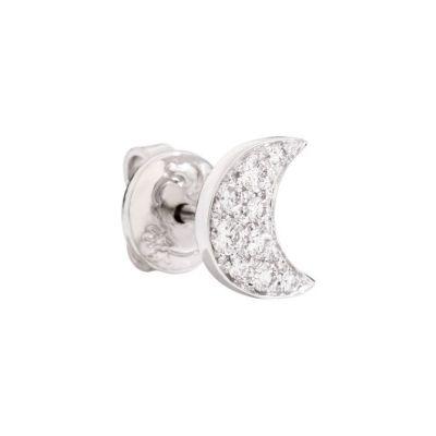 Dodo Orecchino Luna Oro Bianco 18kt e Diamanti