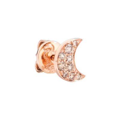 Dodo Orecchino Luna Oro Rosa 9kt e Diamanti Brown