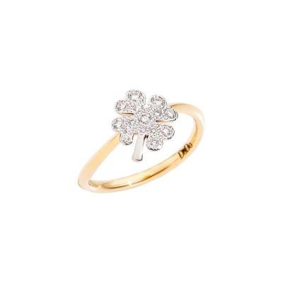 Dodo Anello Quadrifoglio Grande Oro Giallo 18kt e Diamanti