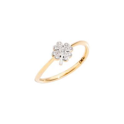 Dodo Anello Quadrifoglio Oro Giallo 18kt e Diamanti