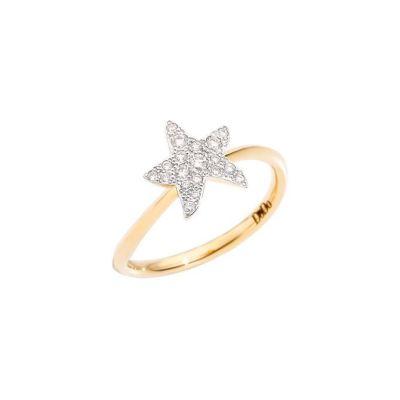Dodo Anello Stella Grande Oro Giallo 18kt e Diamanti