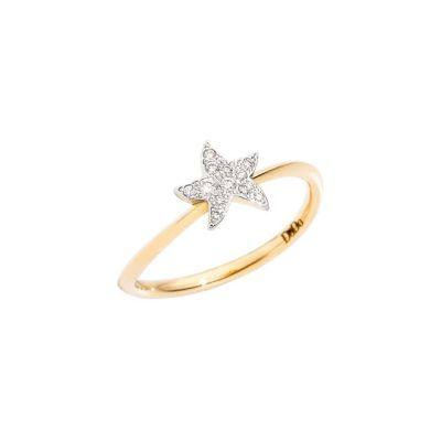 Dodo Anello Stella Oro Giallo 18kt Diamanti