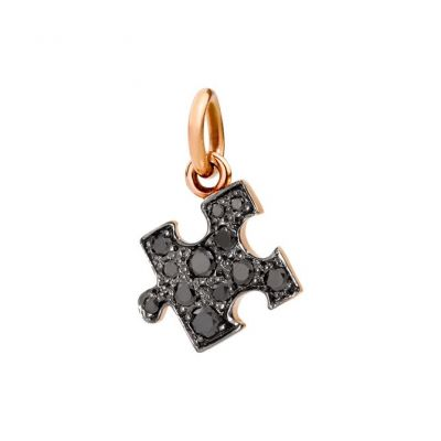 Dodo Charm Puzzle Oro Rosa 9kt Diamanti Black