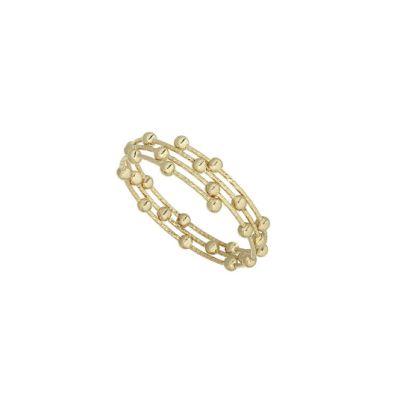 anello in oro bianco con sferette