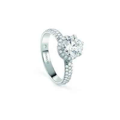 Anello di fidanzamento in oro bianco con diamante.  Diamante centrale: 0,30 ct