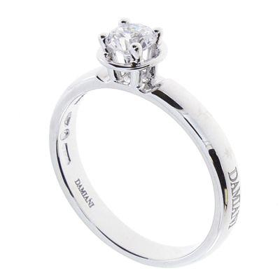 Damiani Anello di Fidanzamento Minou in Oro Bianco e Diamante ct 0.30 G VS1 GIA