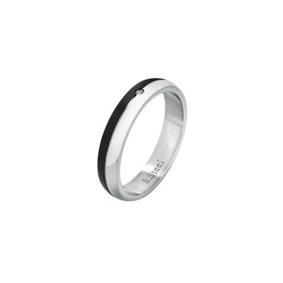 Steel ring with black PVD and zircon nestled