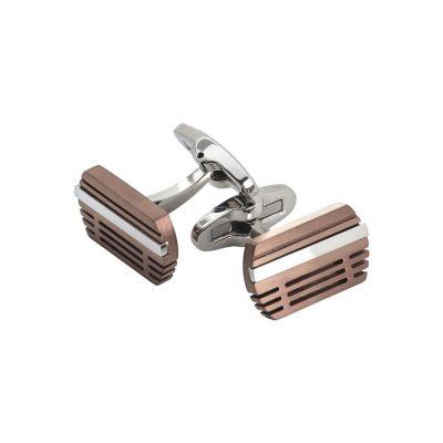 Gemelli in acciaio con inserti in pvd rosato