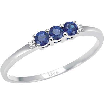 anello in oro bianco diamanti e zaffiri blu