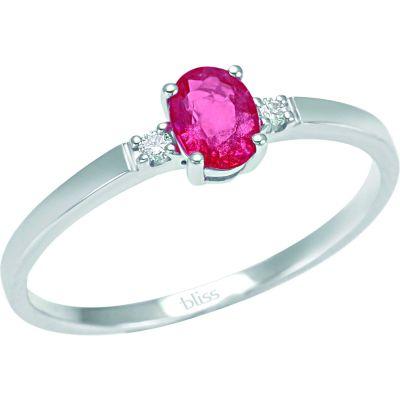 anello in oro bianco 18 kt diamanti e rubino