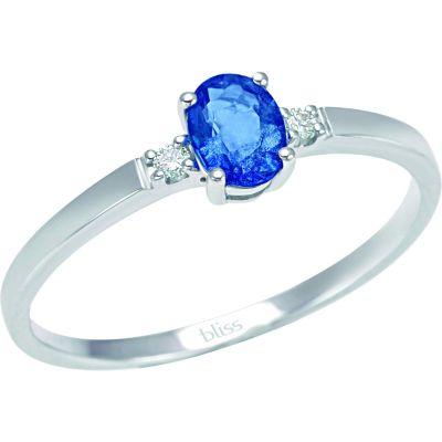 anello in oro bianco 18 kt diamanti e zaffiro blu