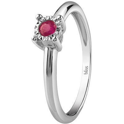 anello in oro bianco e rubino