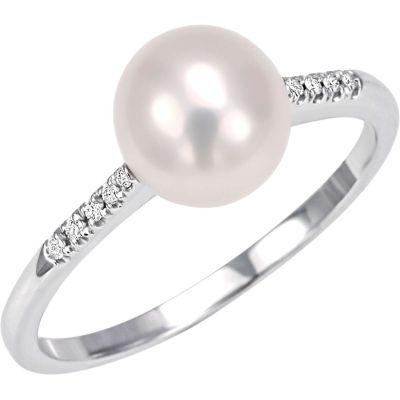 Anello in oro bianco 18 kt perla coltivata e diamanti