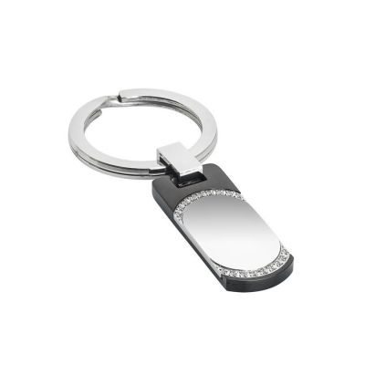 Keychain with PVD black and zircons