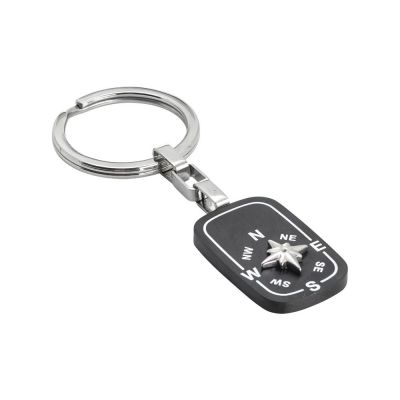 Keyring with black and wind rose pvd plate