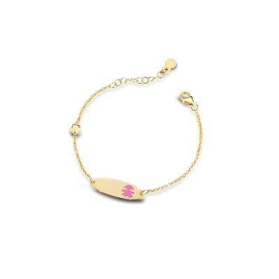 Bracciale Classico ovale bimba oro giallo e smalto rosa
