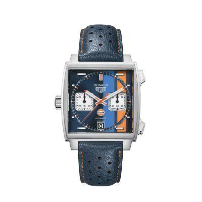Cronografo Uomo TAG Heuer Monaco Calibre 11 automatico Blu Pelle