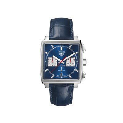 Cronografo Uomo TAG Heuer Monaco Heuer 02 Automatic Blu Pelle