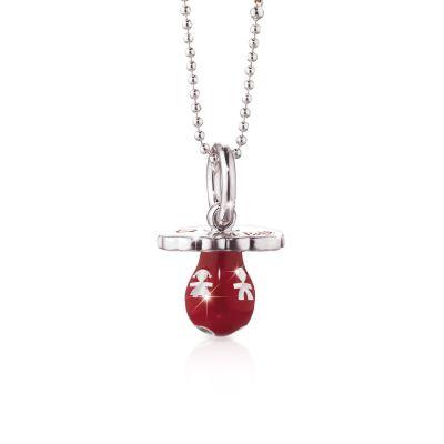 Ciondolo Ciuccio colorati argento rosso