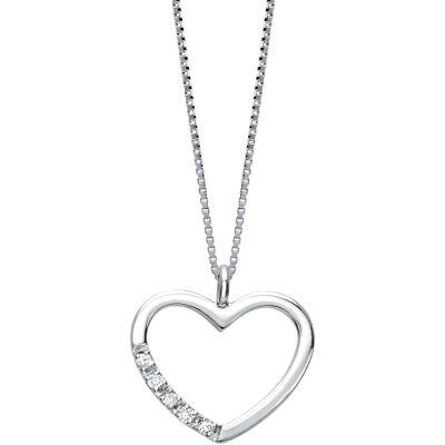 Girocollo in oro bianco e cuore con diamanti
