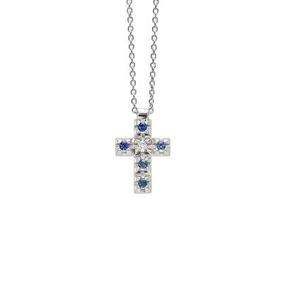 Girocollo in oro bianco e croce con zaffiri blu e diamante