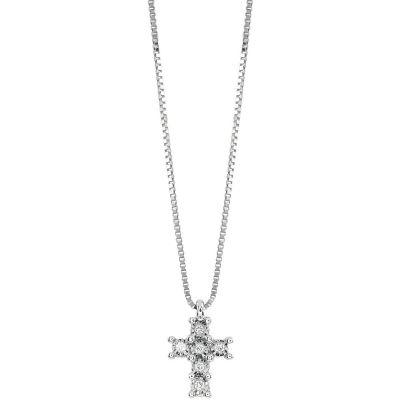 Girocollo in oro bianco e croce con diamanti