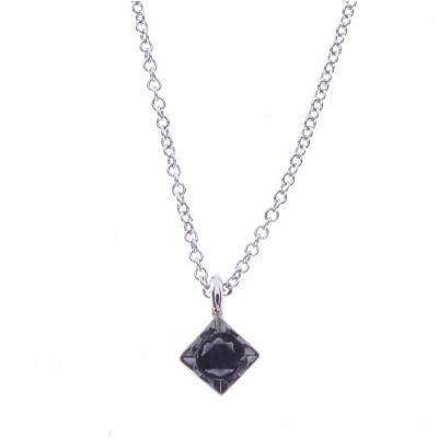 Girocollo in oro bianco e diamante black